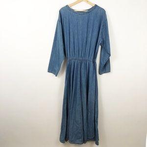 VTG 90's Coldwater Creek L/S Denim Pocket Dress, L